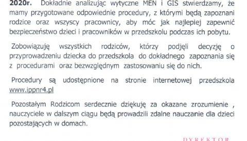 Procedury bezpieczeństwa w okresie pandemii COVID-19 na terenie Integracyjnego Przedszkola Publicznego nr 4 w Bartoszycach