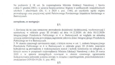 Zarządzenie Dyrektora IPP nr 4 z dnia 14 grudnia 2020 r. w sprawie czasowego zawieszenia zajęć