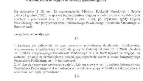 Zarządzenie Dyrektora IPP nr 4 w Bartoszycach z dnia 23 grudnia 2020 r. w sprawie czasowego zawieszenia zajęć