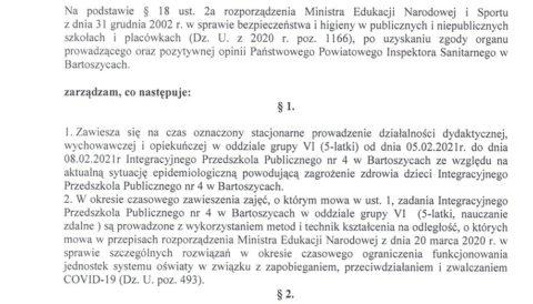 Zarządzenie Dyrektora IPP nr 4 w Bartoszycach z dnia 5 lutego 2021 r. w sprawie czasowego zawieszenia zajęć