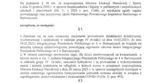 Zarządzenie Dyrektora z dnia 16 lutego 2021 r. w sprawie czasowego zawieszenia zajęć