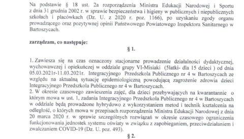 Zarządzenie Dyrektora Przedszkola z dnia 5 marca 2021 r. w sprawie czasowego zawieszenia zajęć