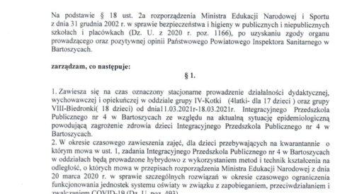 Zarządzenie Dyrektora Przedszkola z dnia 11 marca 2021 r. w sprawie czasowego zawieszenia zajęć