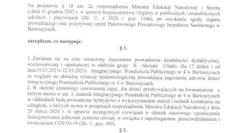 Zarządzenie Dyrektora Przedszkola z dnia 19 marca 2021 r. w sprawie czasowego zawieszenia zajęć