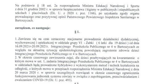 Zarządzenie Dyrektora Przedszkola z dnia 16 września 2021 r. w sprawie czasowego zawieszenia zajęć
